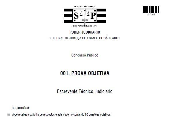 Provas Anteriores do Concurso para Escrevente Técnico Judiciário do TJ-SP