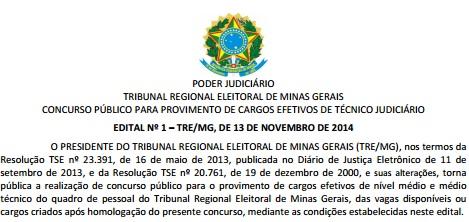 Concurso TRE-MG