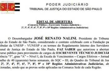 TJ-SP abre novo concurso com 345 vagas para Escrevente Técnico Judiciário