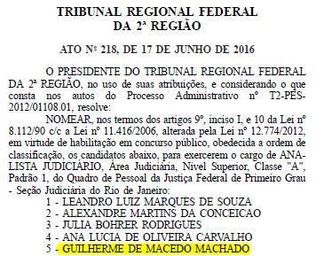 nomeação trf2
