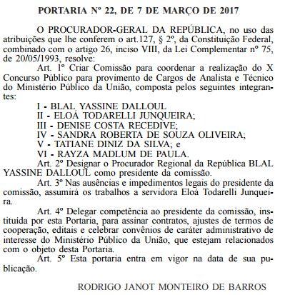Concurso MPU 2017 Comissão