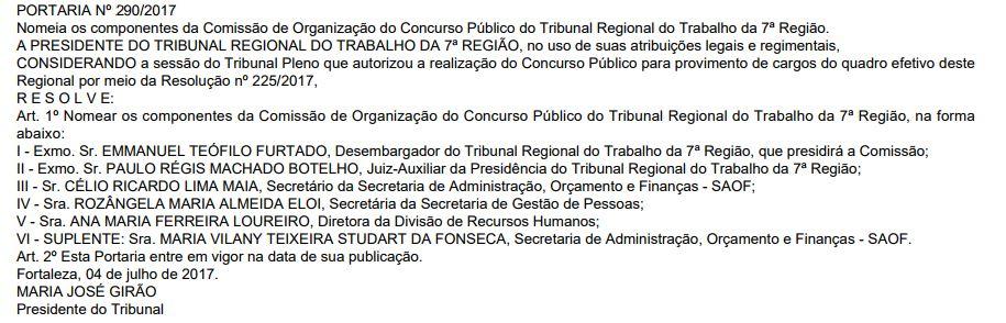 comissão concurso trt 7