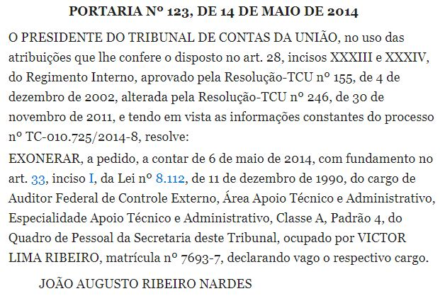 Exoneração TCU Victor Ribeiro