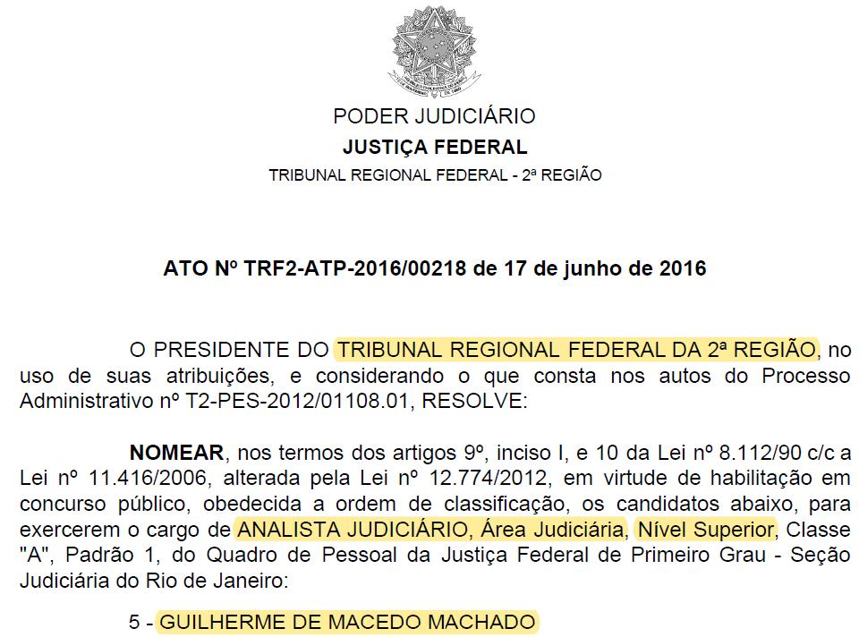 nomeação TRF 2