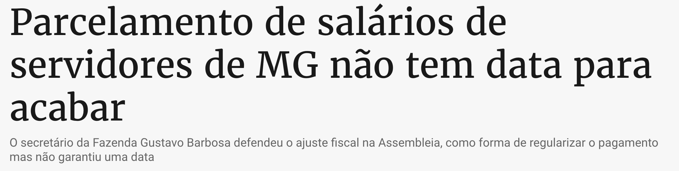 parcelamento salário servidores mg